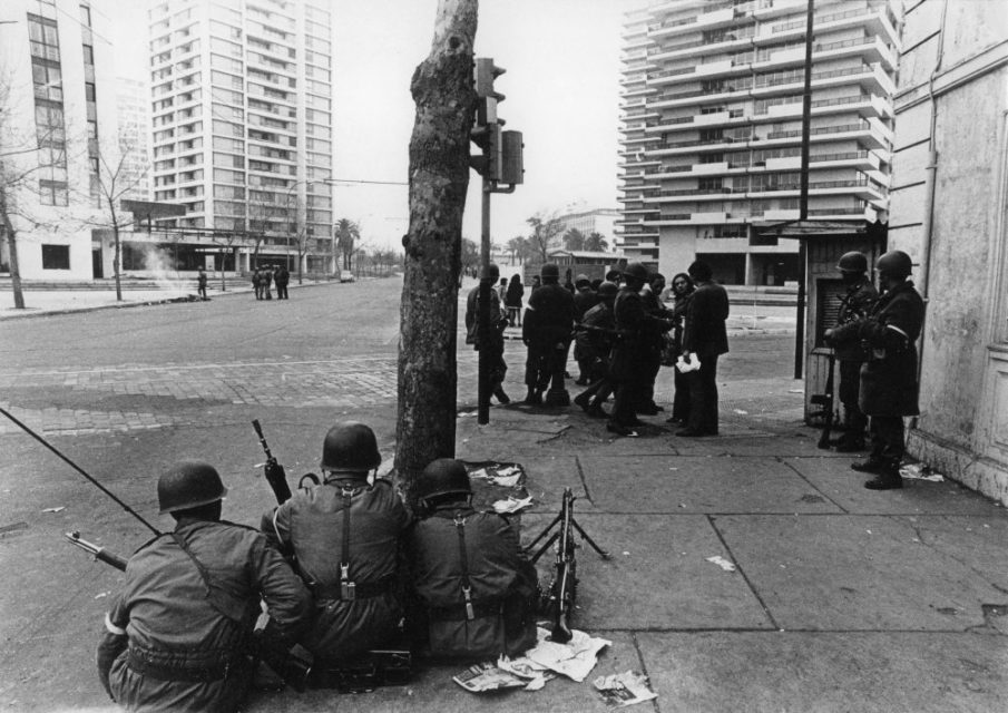 Chili, Santiago, september 1973. Soldiers are patrolling and searching people on the streets of Santiago.