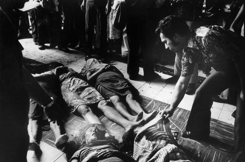 El Salvador, 30-03-1980. Victims of the blood bad during the funeral of the assassinated archbishop Romero.