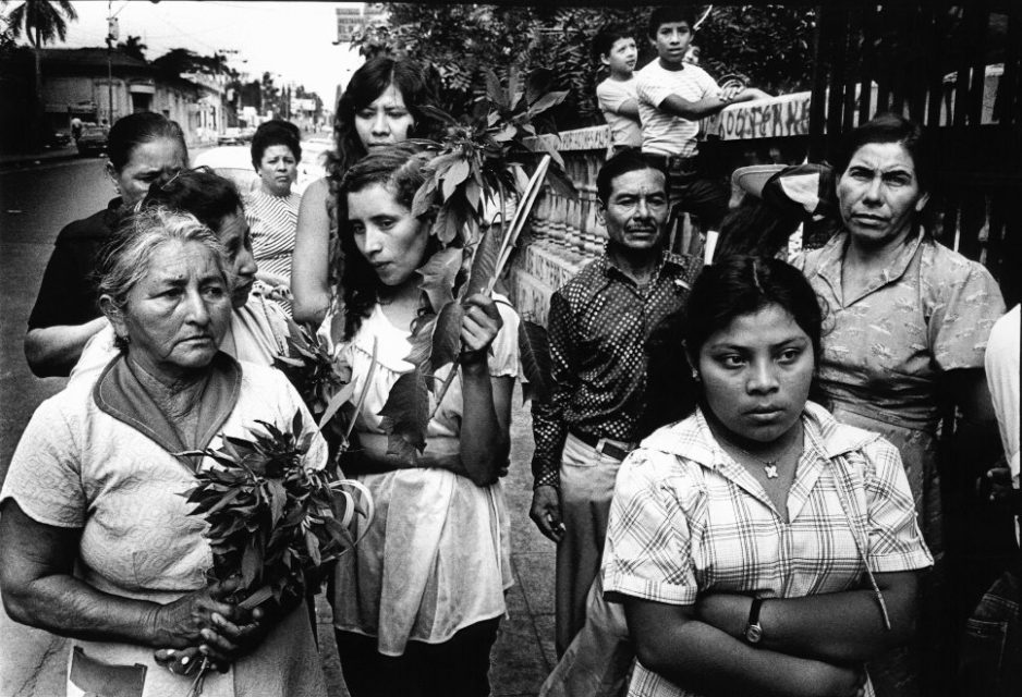 El Salvador, San Salvador, 1980. A group of woman attends the funeral of archbishop Romero.