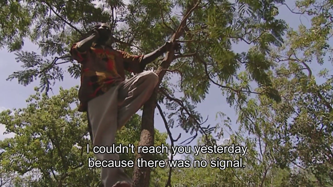 Still from Access to Africa, during a visit to Burkina Faso, where mobile phone access is not always evident