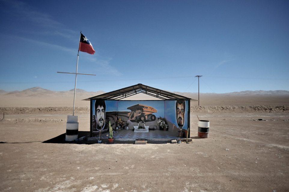 A memorial for two mineworkers who died in accident along the road from Antofagasta to Calama.