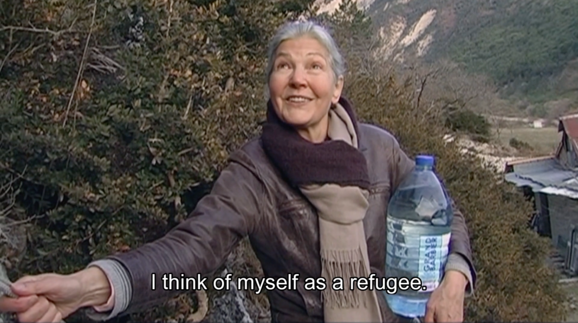 Still from one of the videos produced for the White Spots app,  during a visit to a French woman living in a cave to escape radiation
