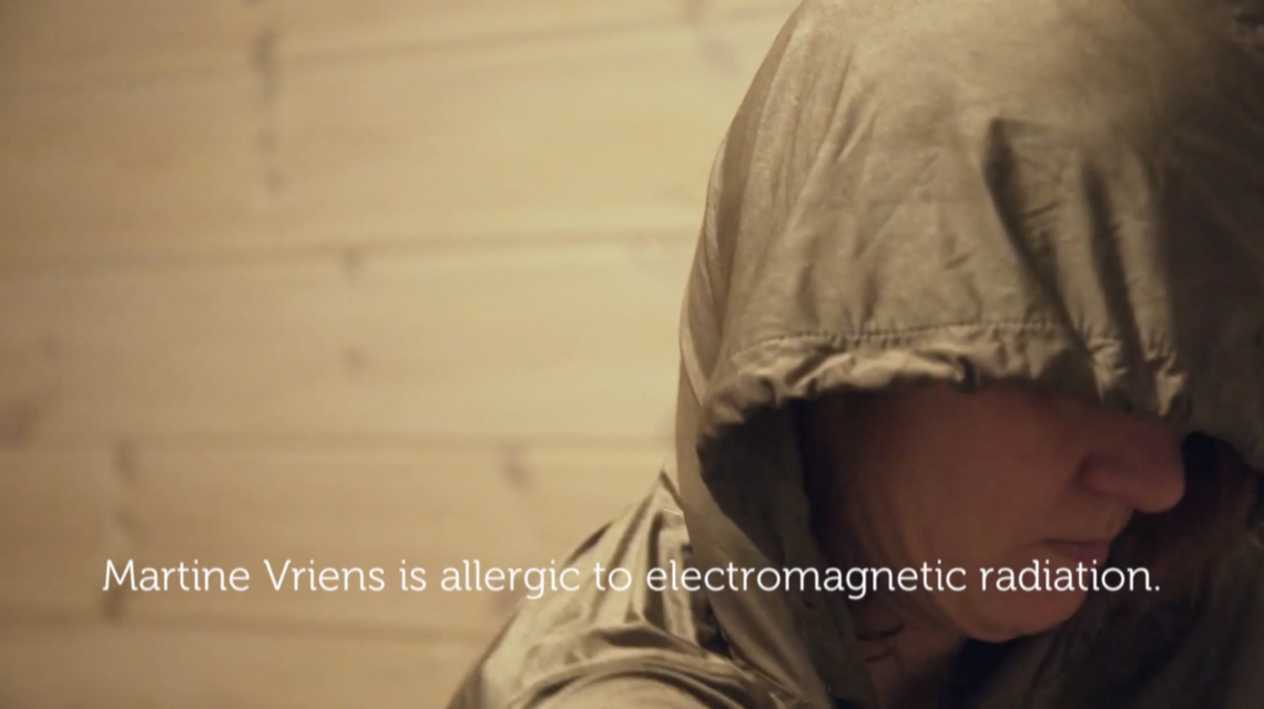 Still from Offline is the New Luxury, during a visit to Martine, who suffers from electromagnetic hypersensitivity