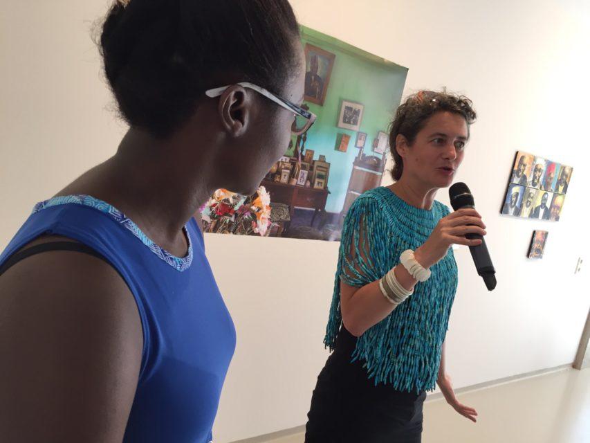 Curators Robinah Nansubuga (UG) and Andrea Stultiens (NL) at the opening of 'Simuda Nyuma – Forward Ever Backward Never' at Framer Framed, Amsterdam