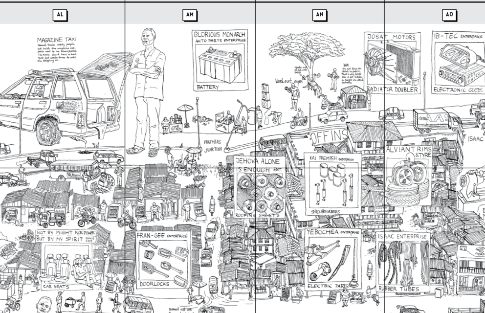 Detail of pull-out map of Suame Magazine. Illustration: Melle Smets.