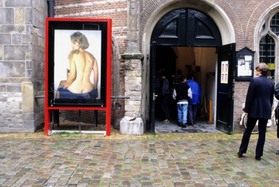 Entrance to the Oude Kerk, Ine Poppe/Jetty Verhoeff, Woman with Beard, 1997