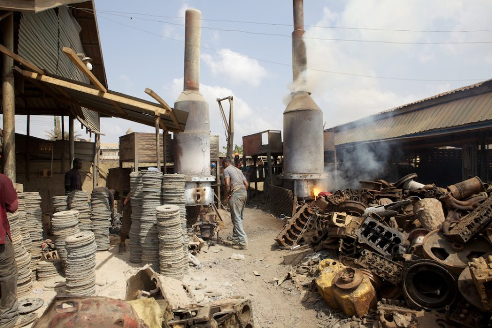 The blast furnace melts left-over scrapes to create new products.