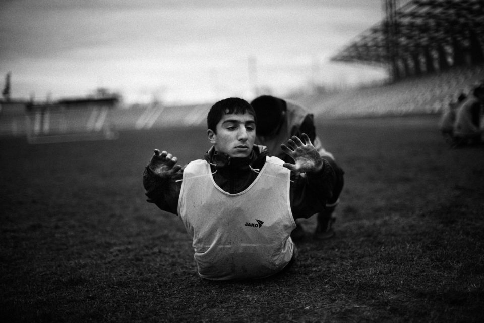 Training of the 15/16 age group of Lernayin Artsakh (Karabakh Stepanakert) inside the Stepanakert stadium. From the series: Offside - Football in Exile