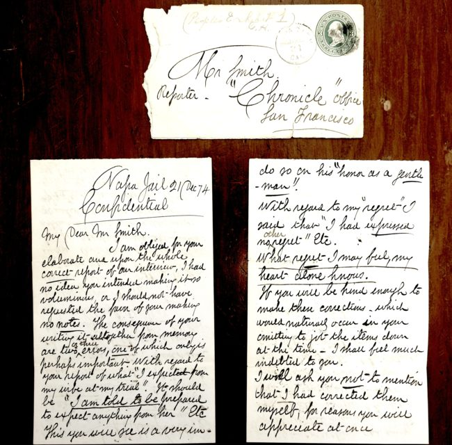 Teerinks research: letters by Muybridges sent from prison