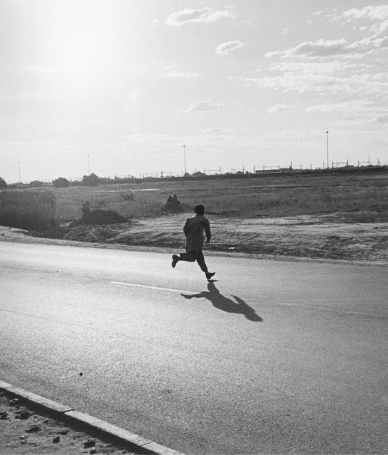 Miner on his way to Thabong, 1990