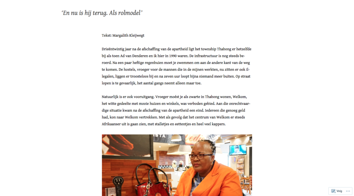Screen shot from the blog Welkom Today
