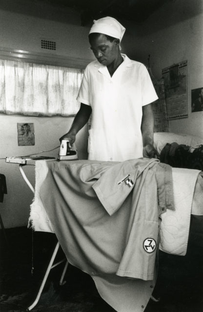 The maid of Blikkies Blignout, leader of AWB in Welkom, South Africa, 1990