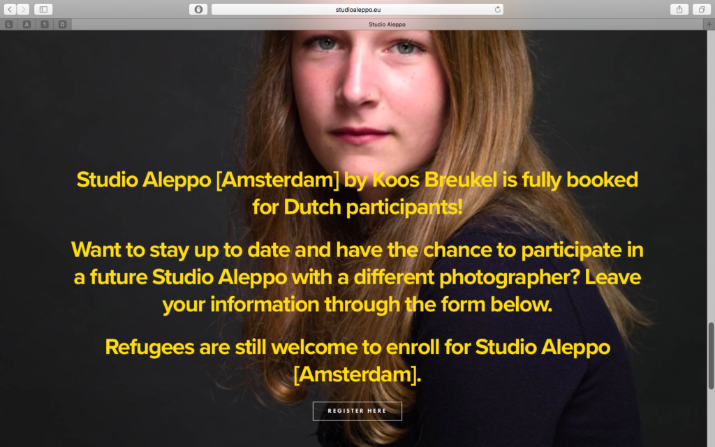 Registration page for Studio Aleppo [Amsterdam].