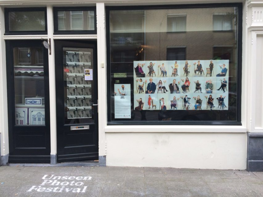 A small portrait gallery of Studio Aleppo [Amsterdam] in the windows of Effe bij moeder An