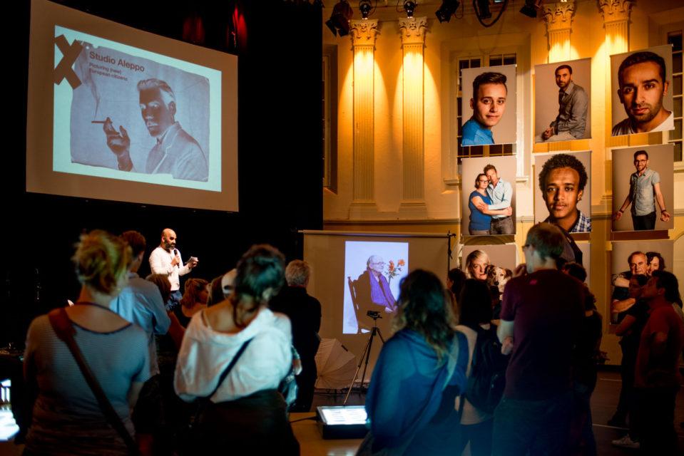 Film maker and moderator Bahram Sadeghi interviews Issa Touma
