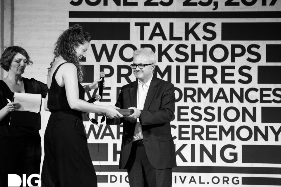 Floor van der Meulen receives the DIG Award 2017 in the category 'Reportage Medium' at the DIG Festival, Riccione.