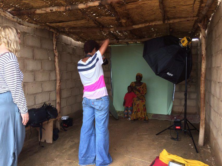 Joanna Choumali at work at the improvised studio in Burkina Faso
