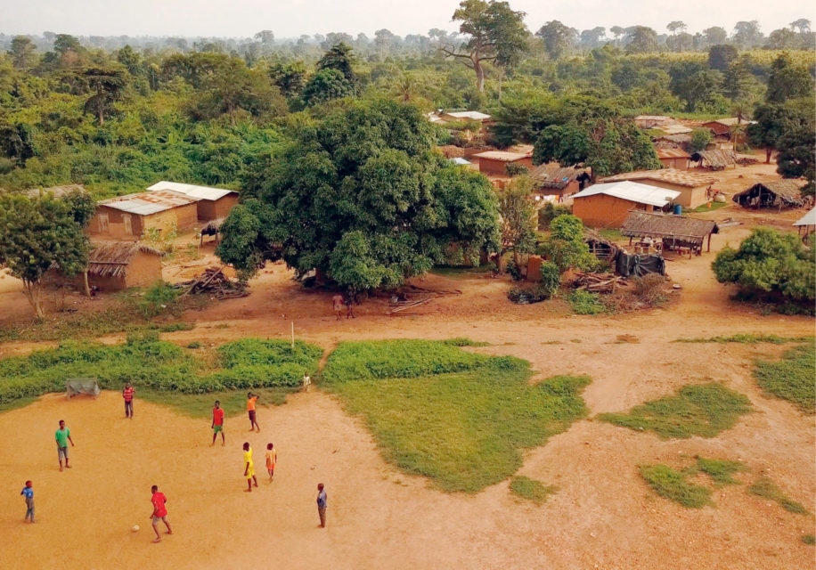 Drone photo of the children at the shelter and training centre.