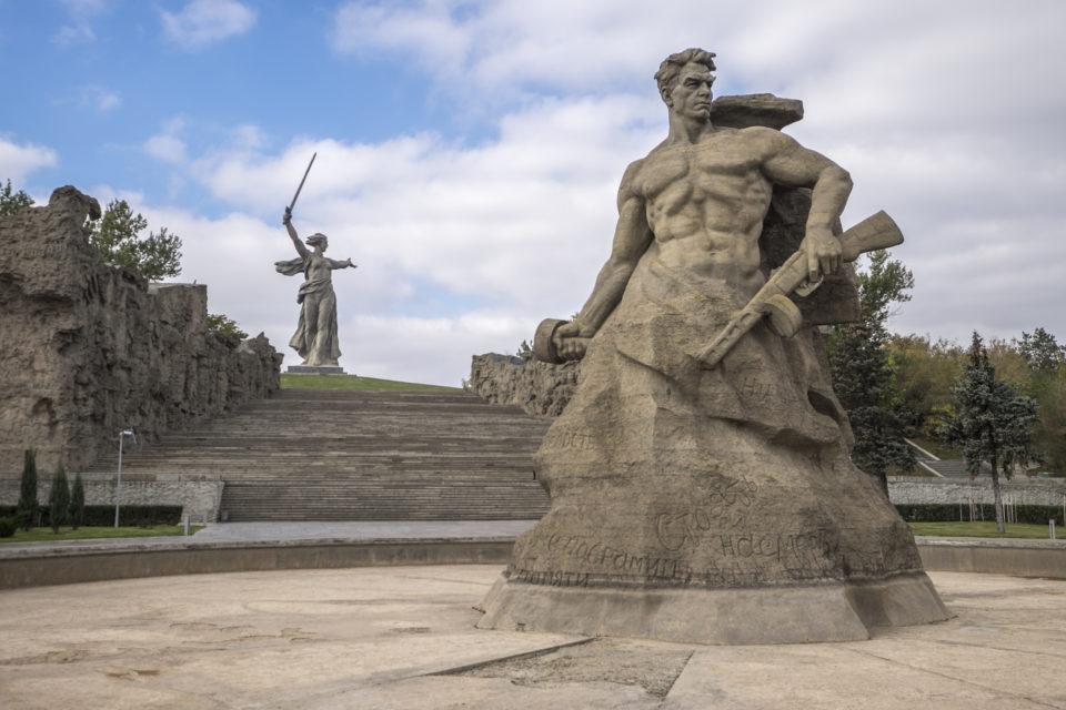 The statue of Mother Russia in Volgograd, former Stalingrad.