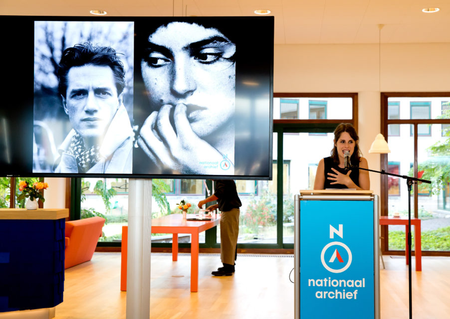 Nele Eeckhout of AudioCollectief Schik during the opening of the exhibition Face to Face, portraits from the largest photocollection in the Netherlands. The National Archive in The Hague. Photo by Bart Hoogveld