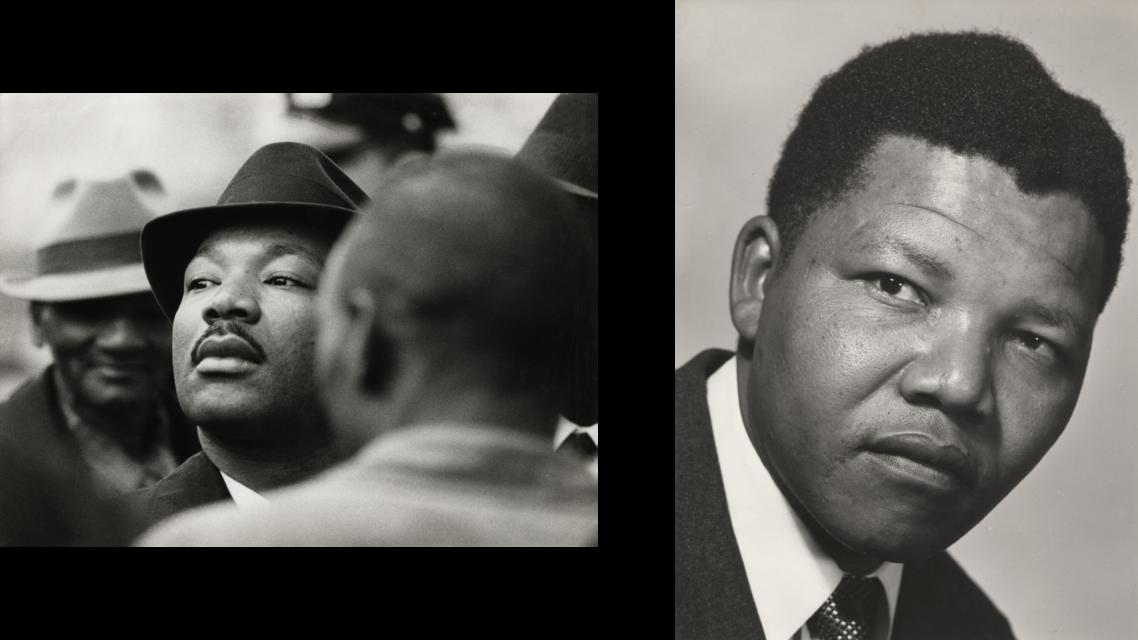 Nelson Mandela in de Verenigde Staten 1965, uit het Stadsarchief Den Bosch. Eli Weinberg, Martin Luther King in Zuid-Afrika rond 1960.
