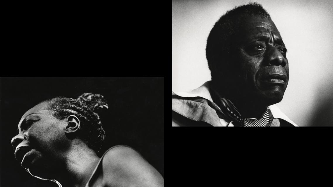 John Schaffer, Nina Simone 1991 uit Fotocollectie Trouw Parool. Guus Dubbelman, James Baldwin circa 1981 uit Fotocollectie Het Vrije Volk.