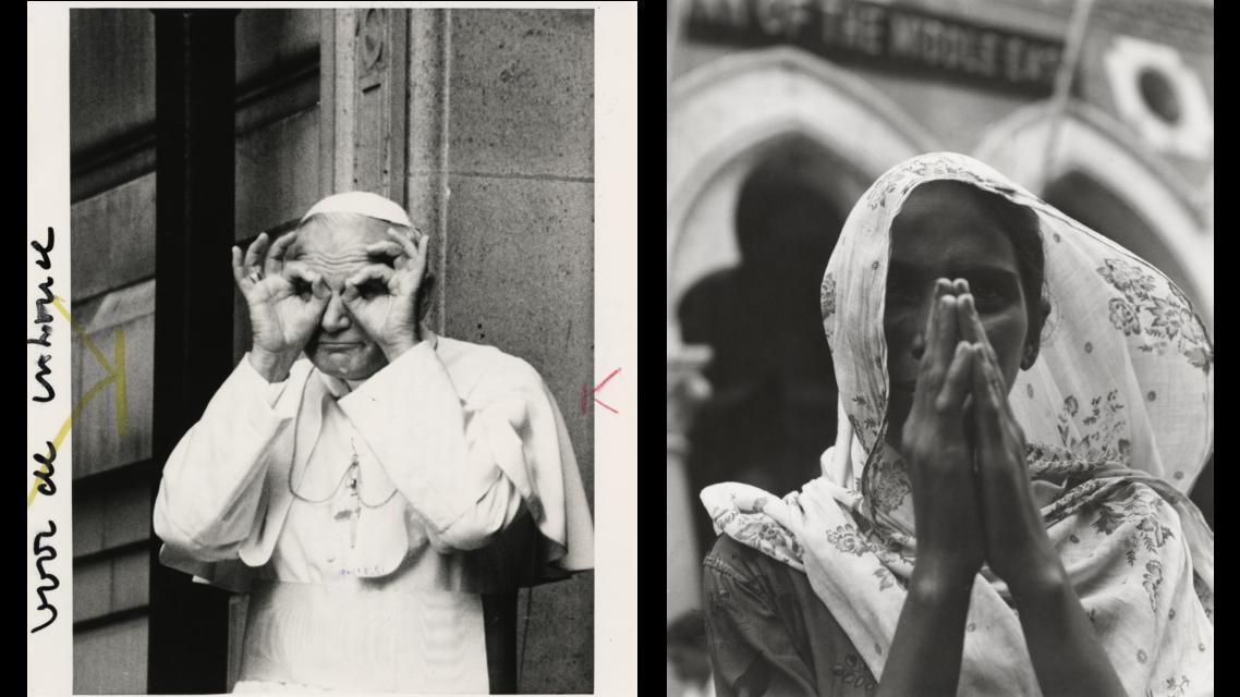 René Leveque, Paus Johannes Paulus II in 1981 uit Fotocollectie Trouw Parool. Beatrijs Kuyck, Indiase vrouw 1957.