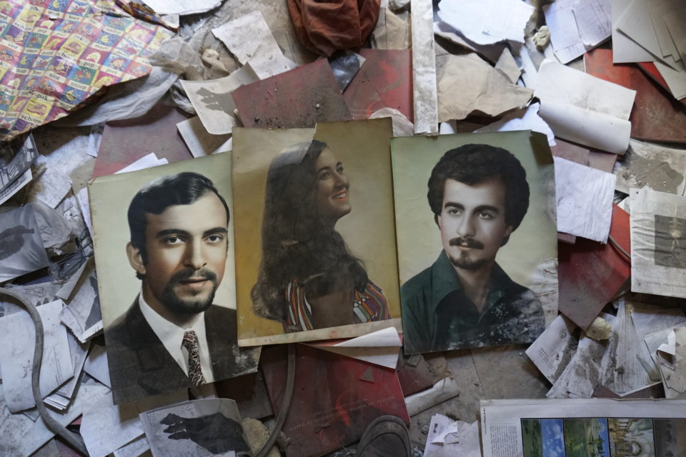 Touma found remaining of his library and archive on the floors of every room in his apartment. These are the only three photos left from Touma's large collection of hand coloured black and white photographs made by and Armenian photographer.