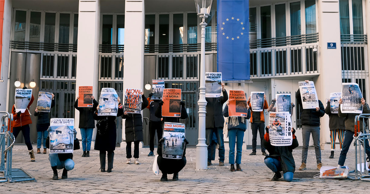 Posters created for the Love for Moria campaign in Vienna, Austria. Photographs by @hass_ist_nicht_normal.